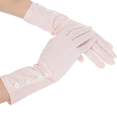 Guanti da donna Sunblock Protezione UV Guanti lunghi in cotone Guanti da guida all'aperto - rosa -