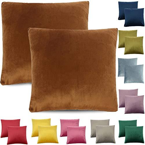 CALIYO - Funda de cojín de terciopelo, universal, 2 o 3 fundas de almohada para cojines decorativos, cojines de sofá, cojines de sofá, 45 x 45 cm, muchos colores, marrón, 40 x 40 cm