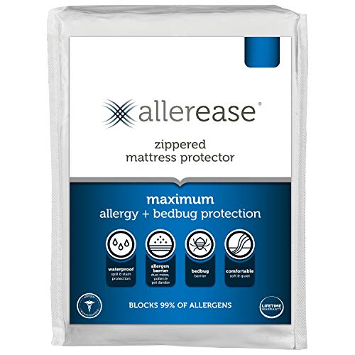 AllerEase Maximum Allergy Waterproof Zippered Mattress Protector - Allergist Recommended to Prevent Collection of Dust Mites and Other Allergens, Vinyl Free & Hypoallergenic, Queen Sized