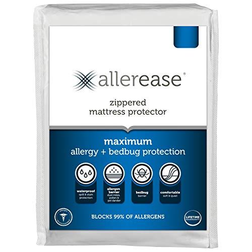 AllerEase Maximum Allergy Waterproof Zippered Mattress Protector -...