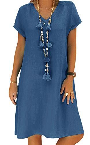 Yidarton Sommerkleid Leinen Kleider Damen V-Ausschnitt Strandkleider Einfarbig A-Linie Kleid Boho Knielang Kleid Ohne Zubehör(Blau,3XL)