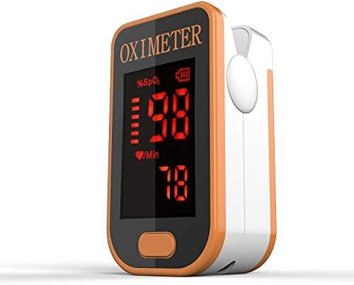 Monitor de oxígeno de dedo, oxímetro de pulso Monitor de saturación de oxígeno Spo2 para oxímetro de pulso para adultos y niños con pantalla LED con cordón (YELLOW)