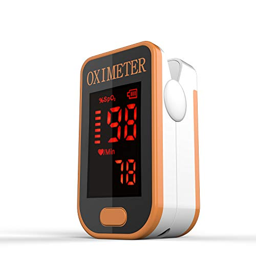 Saturimetro Da Dito- Monitor Di Saturazione Di Ossigeno Nel Sangue PRCMISEMED Con Cordino,Fit For Your Health (Nero) (yellow)