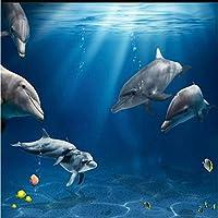 Ljjlm カスタマイズされた大規模な壁画美しい水中世界イルカ3D海テレビ背景壁不織布壁紙-200X150Cm
