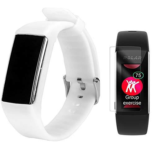 TUSITA Armband für Polar A360 A370 - Silikon Sportarmband Band mit schutzfolie - GPS Smart Watch Zubehör (Weiß)
