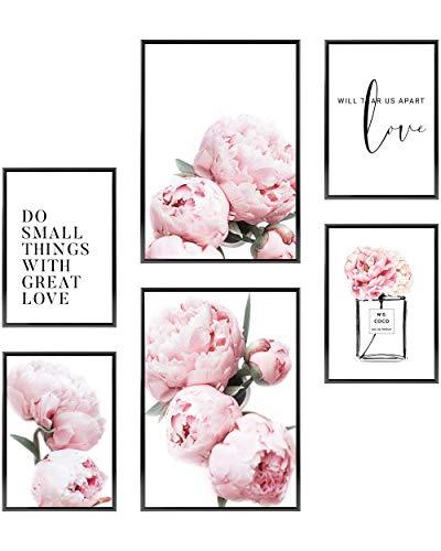 Heimlich® Premium Poster Set | Stilvolles Set mit passenden Bilder als Wohnzimmer Deko | 2 x DIN A3 & 4 x DIN A4 - ca. 30x42 & 21x30 | ohne Bilderrahmen » Coco Pfingst-Rosen «