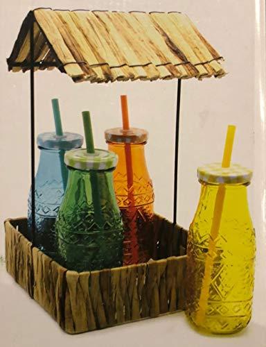 Set de bandeja con 4 vasos de cristal con tapa pajita reutilizable...