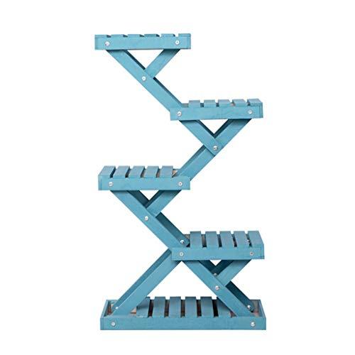 G-HJLXYZWJHOME bloemenstandaard voor hout, boekenrek, meerlaags, balkon, woonkamer, hal, decoratie, creatief frame, blauw