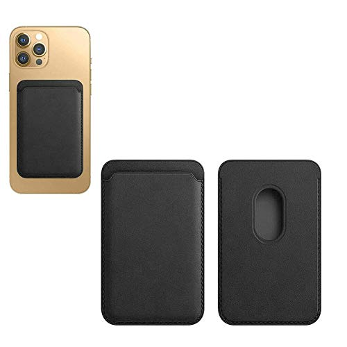 Jinwe - Tarjetero de piel, compatible con iPhone 12 Mini/Pro/Max, con imán Mag-Safe y diseño RFID (negro)