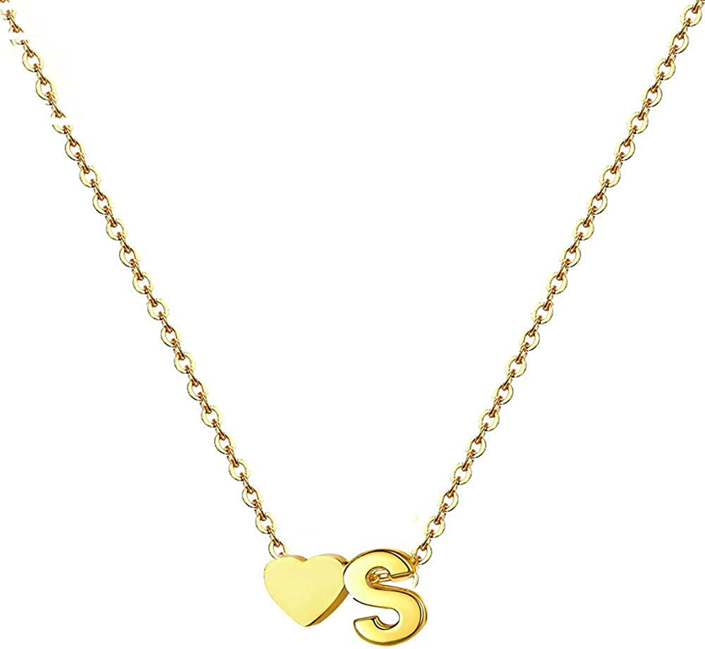 MetJakt Heart Necklaces, 14K Gold Plated Stainless Steel Tiny Heart Letter Necklace and Name Necklaces for Women Girls