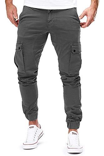 Herren Hose Jogger Chino Cargo Jeans Hosen Stretch Sporthose Herren Hose mit Taschen Slim Fit Freizeithose (Z_Dunkelgrau, L)