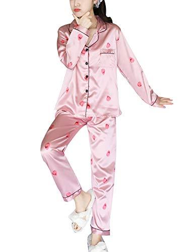 ORANDESIGNE Damen Pyjamas Sets Frühling Herbst Klassische Schlafanzug Satin V-Ausschnitt Zweiteiliges Nachtwäsche Nachthemd Lang Elegant Licht Langarm Shirt und Hosen B Rosa 04 DE 48