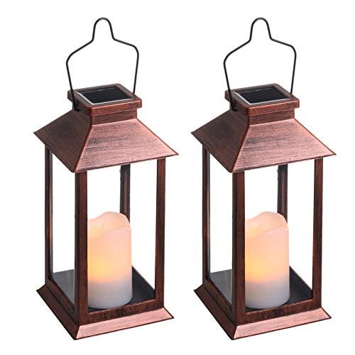 Lanterna Solare Giardino Esterno,Tomshine 2 pcs LED Luci Solari Giardino,Effetto candela Lampade da Esterno IP44 per Prato,Decorativo LED Lampade Solar