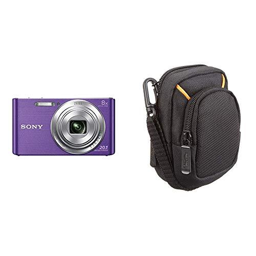 Sony DSC-W830 Digitalkamera (20,1 Megapixel, 8X optischer Zoom, 6,8 cm (2,7 Zoll) LC-Display) violett & AmazonBasics Kameratasche für Kompaktkameras, mittlere Größe