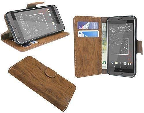 ENERGMiX Elegante Buch-Tasche kompatibel mit HTC Desire 530 in Braun Leder Optik Wallet Book-Style