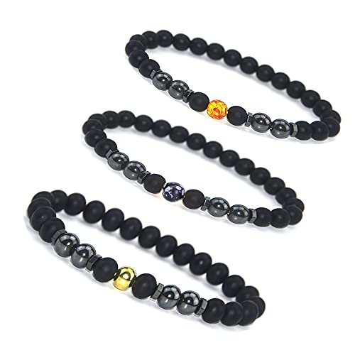 CSIYANJRY99 3Pcs Anti-Swelling Black Obsidian Anklet Magnetic Therapy Ankle Bracelet Weight Loss Bracelet for Women Men,Anti-Anxiety Yoga Beads Bracelet (B-amber+gold beads+seed)