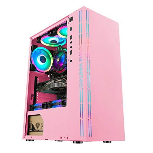ピンクのATXミドルタワーPCゲーミングケース、全透明な強化ガラスのサイドパネル、およびRGBフロントパネル磁気ダストフィルタ、水冷準備