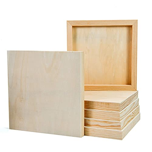 YoleShy 6 Pcs 8'' x 8'' Unfinished Wood Cradled Painting Panel Boards for Arts & Craft - Wooden Canvas Panels