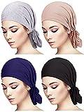 4 Pieces Slip-On Pre-Tied Head Scarves Women Headwear Turban Beanie Caps Head Wrap Headscarf for Women Girls (Grey, Camel, Navy Blue, Black)