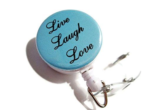 ATLanyards Live Laugh Love Retractable Lanyard Badge Holder Id Reel Light Blue 271