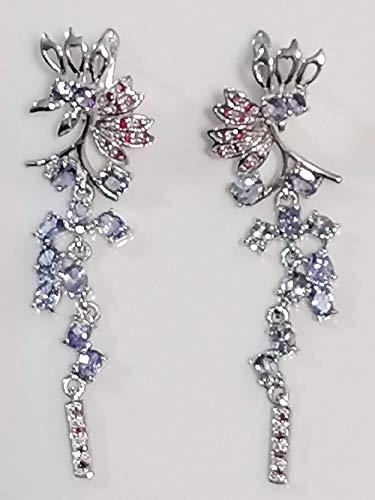 hand made Pendientes de plata de ley 925 con rubí y rodolita ovalada no calentado