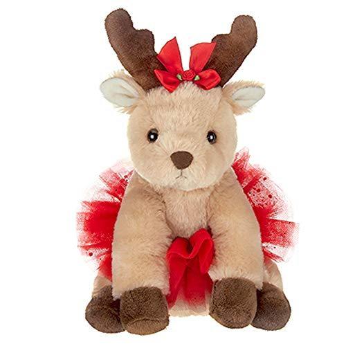 Bearington Darling Dancer Holiday Plush Stuffed Animal Ballerina Reindeer, 7 inches