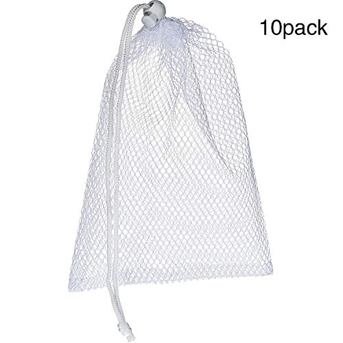 TecUnite 10 Pack Nylon Mesh Stuff Sacks Durable Mesh Bags with Sliding Drawstring for Breast Pump Dishwasher, White