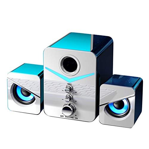 Release Mini Computer 2.1speaker USB Cableado con Cable Sound Sound Surround Altavoz Altavoces Bluetooth para teléfono PC portátil Notebook (Size : White Bluetooth)
