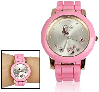 Watch Quartz Wrist Watch with Diamond Dial Stylish Butterfly Style, Fashion Watch (Color : Pink)