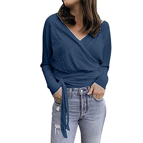 Women's Casual V-Neck Solid Tops Long Sleeve Lace-up Slim Fit Blouse Summer Shirt Brief Pullover, Plus Size Navy