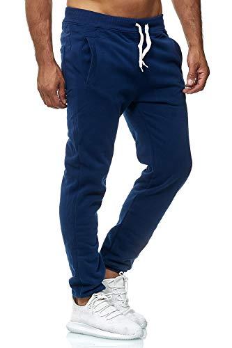 EGOMAXX Herren Jogging Hose Fit & Home Sweat Pants leichte Sporthose Vers.1, Farben:Dunkelblau, Größe Hosen:L