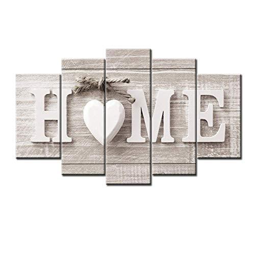 Cuadros en Lienzo Arte moderno LOVE HOME Arte decorativo de la pared Pintura al óleo sobre lienzo para el dormitorio en casa Sala de estar Decoración de oficina - 5 piezas,B,30×40×2+30×60×2+30×80×1