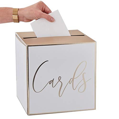 Geld-Box/Brief-Box/Hochzeits-Post Cards in weiß & Gold - ideal für Kuverts, Hochzeits-Karten & Geld-Geschenke zur Hochzeit, Geburtstags-Umschläge, Sammel-Box Geld-Geschenke