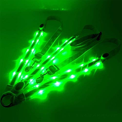 N/N LED Pferdegeschirr Brustgurt Pferdegeschirr mit LED Licht Punktlicht Pferde Brustgurt für Reiten Dunkle Umgebung Outdoor Und Pferdesport Einstellbare Sicherheitsausrüstung (Green)