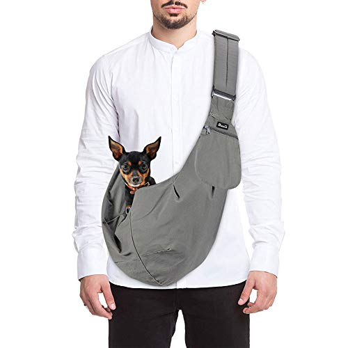 SlowTon Pet Carrier, Hand Free Sling Adjustable Padded Strap Tote Bag Breathable Cotton Shoulder Bag Front Pocket Safety Belt Carrying Small Dog Cat Puppy Machine Washable (Grey)