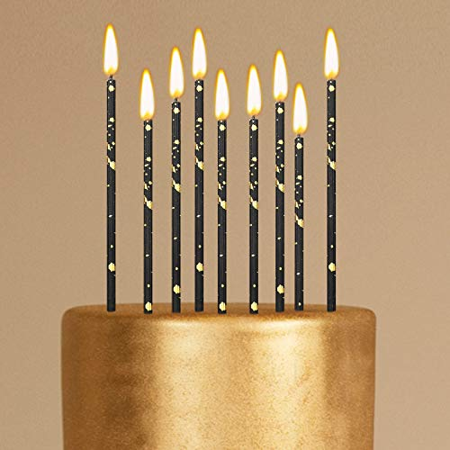 Threlaco 24 Pieces Birthday Candles Long Thin Cake Candle Cupcake Candles for Birthday Wedding Anniversary Graduation Retirement Party Decoration (Black Gold)