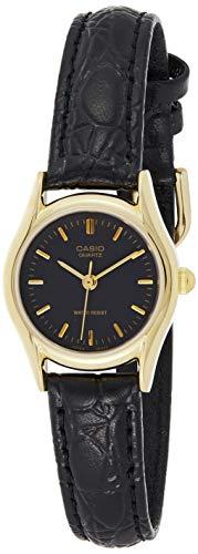 Casio Women's LTP1094Q-1A Black Leather Quartz Watch with Black Dial