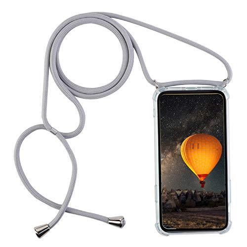 mvced Kompatibel mit Motorola Moto ONEZoom/OnePro Hülle TPU Silikon Tasche Handy Hülle mit Kordel zum Umhängen Necklace Transparent Silikon.