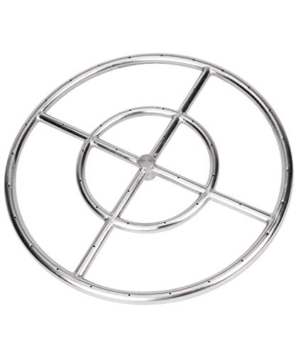 GASPRO 18 Inch Round Fire Pit Burner Ring for Natural Gas or Propane, 304 Series Stainless Steel with Thread Seal Tape, BTU 147,000 Max