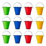 12 Cubos de Colores Brillantes, Balde para Niños| 4 Colores: Rojo, Amarillo, Verde y Azul - Plástico Duro Resistente - Juguetes para Arena y Playa, Fiesta Verano para Niños, Picnic Jardín Parque.
