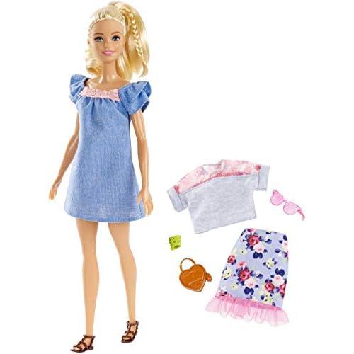 Barbie- Fashionistas Motivo Floreale e Catena Bambola, Multicolore, FRY79