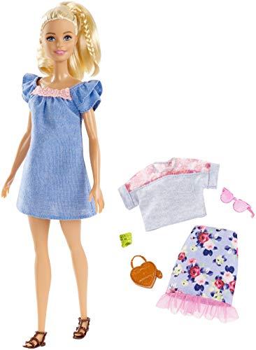 Mattel Barbie - Fashionistas pop en modieuze cadeauset, in blauwe jurk, met roze kant