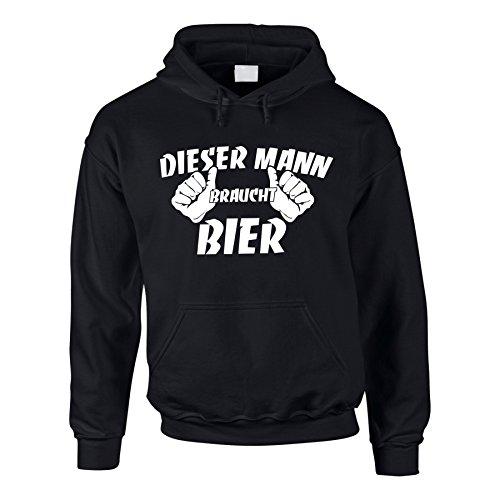 shirtdepartment Hoodie Dieser Mann braucht Bier Kapuzenpullover Fun Pullover Beer, L, schwarz