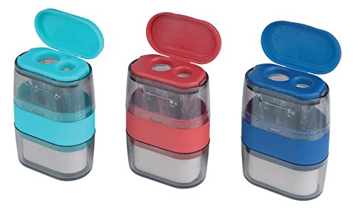 Helix Balance Duo Two Hole Pencil Sharpener and Eraser (Assorted Colours)