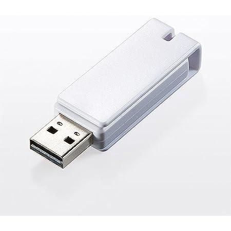 サンワダイレクト USBメモリ 4GB 紛失防止 ストラップ付き キャップレス ホワイト 600-US4GW