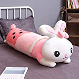 Cute Rabbit Plush Toy Hug Pillow 40CM (15.74 in) Pink Soft Marshmallows Lovely Pet Milk Tea Cup Stuffed Plushie Doll Child Bed Ornament Kawaii Girls Bedroom Sleeping Soothing Pillows