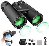 Prismáticos 12x42,Binoculares Profesionales y Potentes con Gran Alcance,Prismaticos Pequeños, con Adaptador para Teléfono,Prismas BaK4 y FMC,para Observación de Aves,Caza,Astronomía y Camping