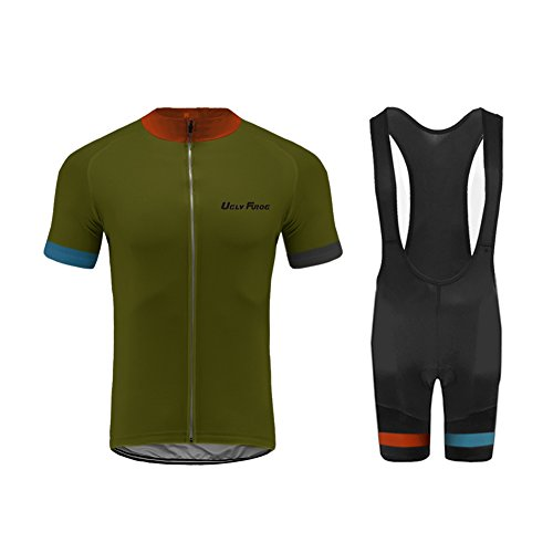 Uglyfrog Bike-T Full Zip Herren Radtrikot Set, Atmungsaktiv Quick-Dry Kurzarm Radsport-Shirt + Gel Gepolsterte Shorts