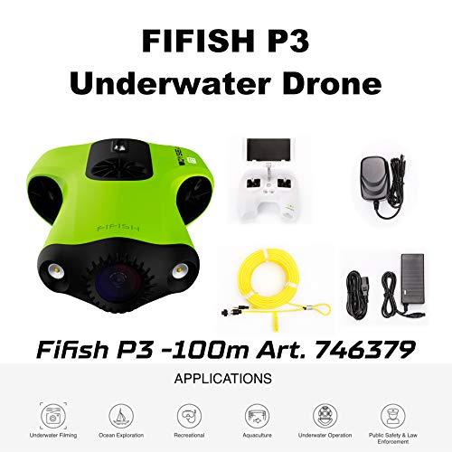 U-Boot-Drohne Undewasser Kamera Fifish P3 QYSEA 4K UHD 20 Megapixel Kabel 100 m Tiefe 64GB Gedächtnis Video Fotoaufnahme Angeln Unterwasserwelt 746379