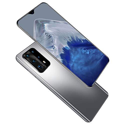 Telefonos Moviles Baratos Android, P40 Pro Smartphone Libre, Cámara Trasera Cuádruple, 8GB RAM + 512GB ROM, Batería Grande De 5000 Mah, Huella Dactilar, Face ID,Gris